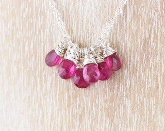 Rubellite Pink Tourmaline Cluster Necklace. Sterling Silver Wire Wrapped Pendant. Gemstone Jewelry. Beaded Pink Necklace. Bead Jewellery