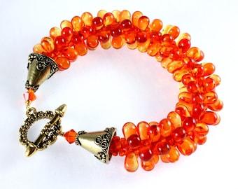 Kumihimo Czech Teardrop Bracelet, Fire Opal