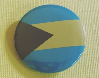 Bahamas Flag Pinback Button, Travel Magnet, Flags of the World, Backpack Pins, Traveler Buttons, Travel Badge, Bahamas Keychain, Nassau Gift