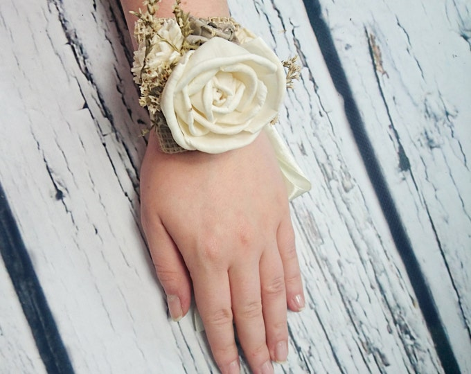 Ivory rustic wedding Rustic WRIST CORSAGE bridesmaids mother Sola Flower dried limonium burlap Wedding Flowers custom