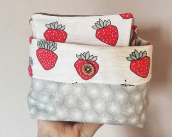 Storage basket 2 in 1 - washable cottons or baby wipes travel pouch