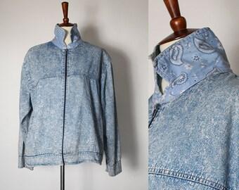 vintage 90s acid washed light weight denim jacket