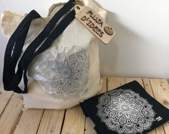 Silver Mandala Pack: T-shirt + Tote Bag