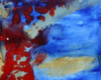 Red Blue Watercolor, Original Abstract Watercolor, Square Painting, Matted Wall Art