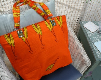 Tote Bag (Large) - Zipped Top - Traditional African Kitenge Fabric - Orange Yellow