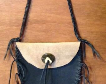 Purse Bag buckskin leather antler gemstone