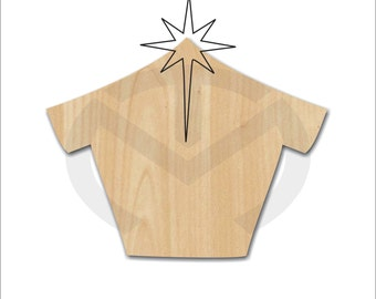 Unfinished Wood Blank Nativity/Manger Laser Cutout, Wreath Accent, Door Hanger, Ready to Paint & Personalize, Various Sizes