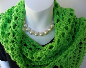Green Scarf, Crocheted Scarf, Crochet Scarf, Scarf Shawl, Women's Scarves, Limeade Green, Gift for Her, Gift for Mom, Hand Crocheted