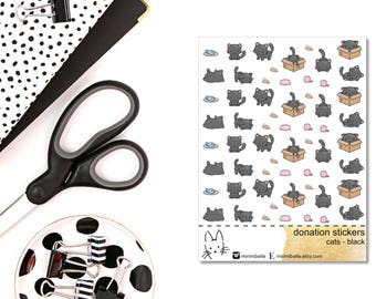 DONATION STICKERS - cats black - Planner Sticker