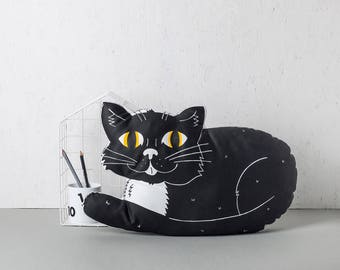 Black Cat Pillow, Large throw Cushion, Nursery Pillow, New home gift, Plush Animal Pillow, Monochrome kids bedroom Decor