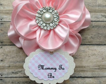 Shabby & Chic Light Pink Mommy To Be Corsage It's a Girl Baby Shower Mommy to Be Corsage Badge Baby Shower Corsage Pink Baby Shower