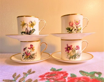 Royal Worcester Demitasse Cups & Saucers,  Espresso Cups, Porcelain Tea Set, Vintage Tea Cups Royal Worcester Alpine Flowers