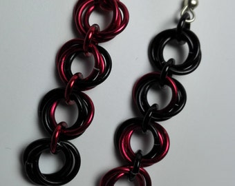 Earrings Black/Red Roses