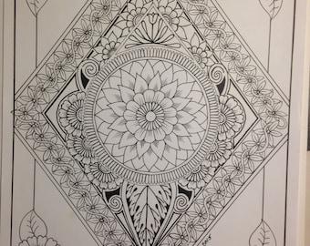 Botanical Flowers Ornamental Diamond #2, Hand Drawn Original Art, Decorative Design, Digital, PDF, Adult Coloring Page - Instant Download
