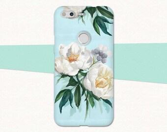 Flowers Pixel 2 Case, Google Pixel XL 2 Case, Floral Pixel Phone Case, Google Pixel Case, White Peony Cute Pixel, Pixel XL Phone Case