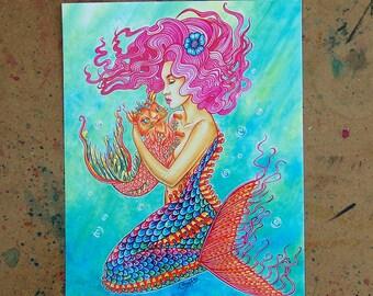 Art Print - Catfish and Mermaid - Fantasy Illustration - 5x7, 8x10, or Apprx 11x14 Signed Print