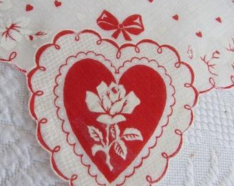 VALENTINE'S Day Heart Hankie White Rose Handkerchief Unused Vintage 1950s Burmel Cotton Hankie WHITE ROSE Red Hearts Ribbons Romance Love