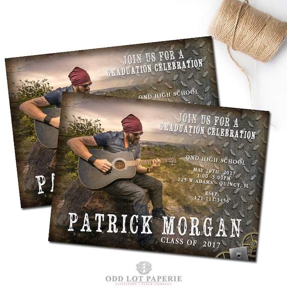 Boy Graduation Invitation Template Rustic Senior Graduation
