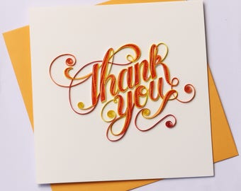 Thank You Quilling Greeting Card, Quilling Cards, Thank You Card, Greeting Cards, Handmade Greeting Card, Handmade Card