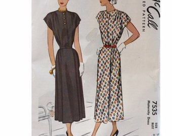 Vintage 40s Cap Sleeve Gathered Shoulder Day Dress Sewing Pattern 7535 B32