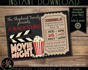 Beau Printable Movie Night Invitation, Chalkboard Movie Night Party Invitation, Movie  Night Invite, Instant