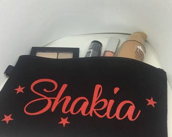 Cosmetic bag personalized with name - makeup bag- cosmetic carrier- makeup holder - toiletry storage