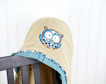 personalized hooded towel owl applique many colors