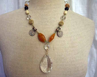 Aziza Handmade Linked Amulet Necklace with Chandelier Crystal Pendant