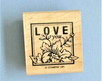 Love You Papercraft Rubber Stamp Cardmaking Heart Stamp Wood Mount Stamp DIY Card Making Wedding Invitation Anniversary Cards