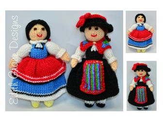 Folk Doll Toy Knitting Pattern, Folk Art, Folk Dress, Switzerland, Bulgaria, Doll Knitting Pattern, Knit Doll, Rag Doll Pattern, Costumes
