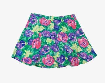 Upcycled Vintage Floral Print Mini Skirt