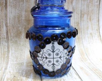 Papa Legba Vodou / Voodoo Bottle, Altar Bottle With Legba Veve, Papa Legba Altar Bottle, Vodou Bottle, Ritual Jar With Voodoo Veve