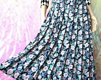 VINTAGE Ditsy Floral Pleated Midi Skirt Large FREEUKP&P