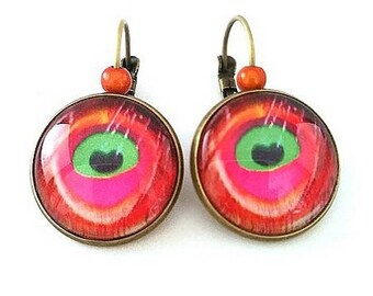Earrings sleepers bronze feather Peacock eye •