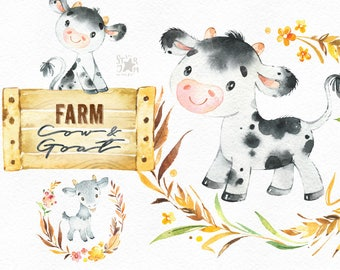 Farm. Cow & Goat. Watercolor country clipart, calf, little animals, floral wreath, kine, planner, stickers, kids, household, nature art.
