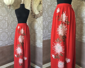 Vintage Alfred Shaheen Ankle Length Skirt with Chrysanthemum Print Small XS