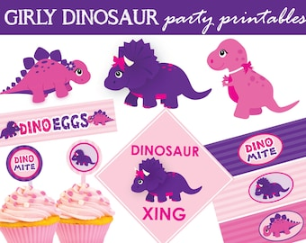 Girly Dinosaur Pink and Purple Party Themed Birthday Printables