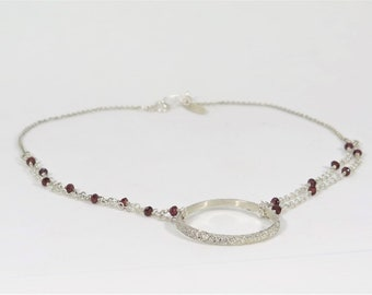 Sterling silver chain necklace with Mozambique garnets. Minimalist necklace. Gemstone necklace. Gift for her. Handmade necklace