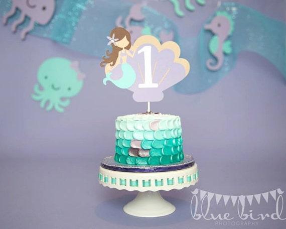 Mermaid Cake topper Mermaid Smash Cake topper Aqua