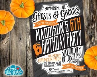 Kids Halloween Birthday Party Invitation - Children's Birthday - PRINTABLE Invitation - Ghost, Cute Halloween - 3rd, 4th, 5th, 6th Birthday