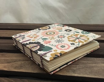 Coptic Bound Journal Sketchbook - Spring light floral
