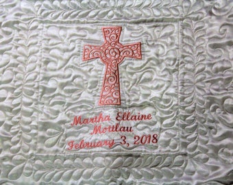 Baptism blanket,Heirloom quality baptismal baby blanket,Personalized baptism blanket, White Satin and cotton,Handmade quilted baby blanket