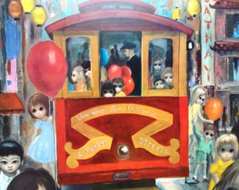 Sunday in Chinatown - Big Eye Girl-  Margaret Keane 1960s Reproduction Lithograph Print - 9-1/2 x 12-1/2