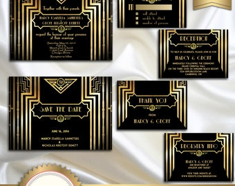Great Gatsby Style Art Deco Wedding Invitation Suite, Black and Gold, Roaring Twenties, 1920's Style, Black and Gold - Printable, GG01