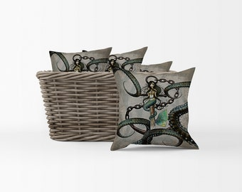 Mermaid Pillow, Octopus Pillow, Steampunk Pillow, Throw Pillows, Decorative Pillows
