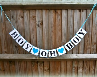Baby Shower Banners/BOY Oh BOY Signs/Baby boy signs/Rustic Chic-Baby shower Decorations/new baby boy/nursery decoration/
