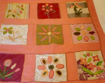 pink wool patchwork applique throw