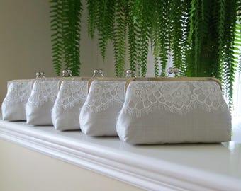 SALE 20% OFF Grey Mist Eyelash Lace Clutch Set Of 5,Bridal Accessories,Wedding Clutch,Bridal Clutch-Bridesmaid Clutches