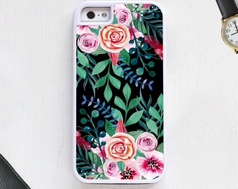 Cute boho vintage garden w/flowers daisys leaves black CellPhone Case protective bumper cover iPhone6 iPhone7 Android s5 s6 s7 note4 note103