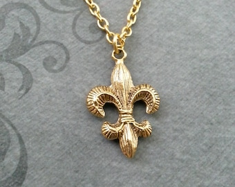 Fleur de Lis Necklace SMALL Fleur de Lis Jewelry Gold Pendant Necklace Medieval Necklace French Necklace Royalty Gift Bridesmaid Jewelry